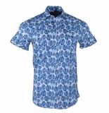 Ferlucci Heren korte mouw overhemd bloemen stretch torino blauw