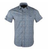 Ferlucci Heren korte mouw overhemd trendy design stretch torino donker blauw