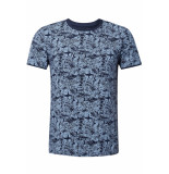 Tom Tailor T shirt met all over print 1011138xx12 17825 blauw