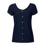 EDC Shirt met opengewerkt motief 059cc1k005 c400 blauw