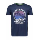 Tom Tailor T shirt met print 1011136xx12 10915 blauw