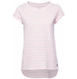 EDC Gestreept shirt met langer achterpand 059cc1k003 c690 roze