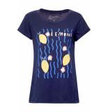 EDC Slub jersey shirt 059cc1k017 c400 blauw