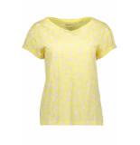 EDC Slub jersey shirt met print 059cc1k020 c745 geel