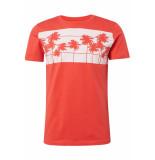 Tom Tailor T shirt met palmenprint 1011367xx12 11042 rood