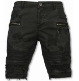 Enos Korte broek slim fit damaged biker jeans with zippers