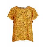 VILA Vilucy s/s flounce top fav lux 14049944 goldenrod/caramel geel