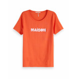 Maison Scotch Relaxed fit tee rood