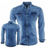 Bravo Jeans Heren overhemd met bloemen in de kraag slim fit stretch stars borstzakken blauw
