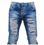 Cipo & Baxx Heren jeans white wash damaged look slim fit stretch lengte 34 denim blauw