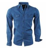 Lemon and Soda Heren jeans overhemd borstzakken slim fit donker blauw