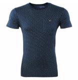 Earthbound Heren tshirt met trendy design ronde hals borstzak blauw