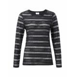 YAYA – top – jersey lace top black zwart