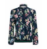 Summum – blouse – top longsleeve flower print night blue blauw