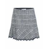 Summum – rok – skirt check wool night blue grijs