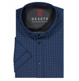 Desoto – overhemd – flower print shirt dark blue blauw