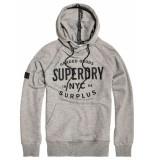 Superdry Surplus goods graphic hood speckle grit grijs