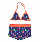 Just Beach Triangle bikini met ananassen apple pineapple blauw