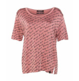 Maison Scotch 143751 0494 mercerised relaxed fit tee with various artworks dusty rose rood