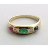 Christian Gouden ring met briljant, smaragd, robijn en saffier geel goud