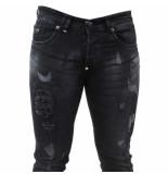 Bravo Jeans Heren jeans damaged look white wash stretch lengte 32 zwart
