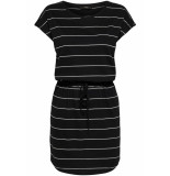 Only Onlmay s/s dress noos 15153021 black/thin stripe zwart