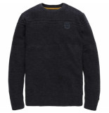 PME Legend Crewneck cotton slub melange dark navy blauw