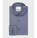 Michaelis Birdseye shirt met navy knoop (extra lange mouwen) blauw