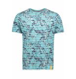 Lerros T shirt met allover print 2943094 428 blauw