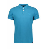 Superdry Vintage destroyed polo m11017rt beach blue marl blauw