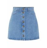 Pieces Pcfate hw button skirt lb127-ar 17097384 light blue denim blauw