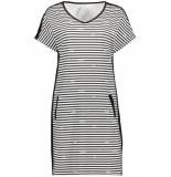 Zoso Succes striped logo dress 193 white/black wit