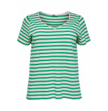 Only Carmakoma Carlife v-neck ss tee sus 15176909 simply green/cloud dancer groen