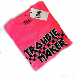 The Girl and Ibiza Tgai troublemaker t-shirt neon roze