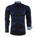 Bravo Jeans Heren overhemd geblokte kraag slim fit blauw