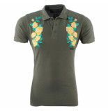 Nickelson Heren polo rozen damaged look slim fit army