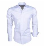 Ferlucci Trendy italiaans effen heren overhemd napoli wit