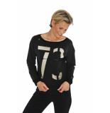 Zip73 W19-416-82-01 sweater print 73 glitter zwart