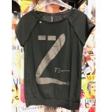 Zip73 W19-816-77-05 top km glitter z print donker grijs