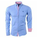 Ferlucci Heren overhemd met trendy design slim fit puglia blauw