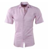 New Republic Pradz heren korte mouw overhemd met trendy design slim fit koraal