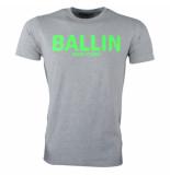 Ballin New York Heren tshirt ronde hals fluoriserend groen grijs