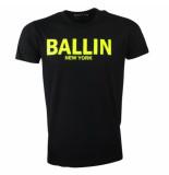 Ballin New York Heren tshirt ronde hals fluoriserend geel zwart