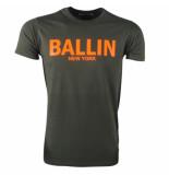 Ballin New York Heren tshirt ronde hals fluoriserend oranje army