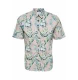 Only & Sons Onslamar ss aop poplin shirt re 22013269 violet ice roze