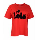 Lois T-shirt flock tee rood