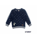 Sturdy Sweater aop 24/7 tuning vibes navy blauw