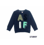 Sturdy Sweater as if tuning vibes navy blauw