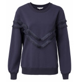 YAYA – sweater with fringes and puff blauw