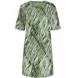 Only Onlnadeem s/s o-neck dress cs jrs 15194052 bright white/zebra groen